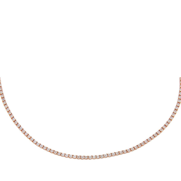 14K Rose Gold Diamond Tennis Necklace 14K - Adina's Jewels