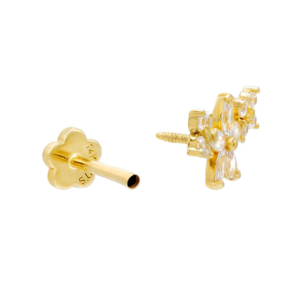 Flower Threaded Stud Earring 14K - Adina's Jewels