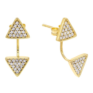 Gold Double Triangle Stud Earring - Adina's Jewels