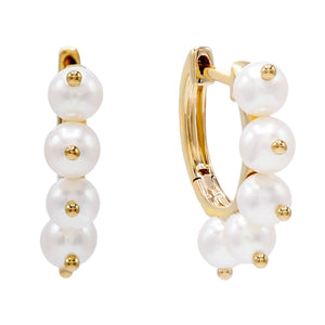 14K Gold Pearl Dangle Huggie Earring 14K - Adina's Jewels