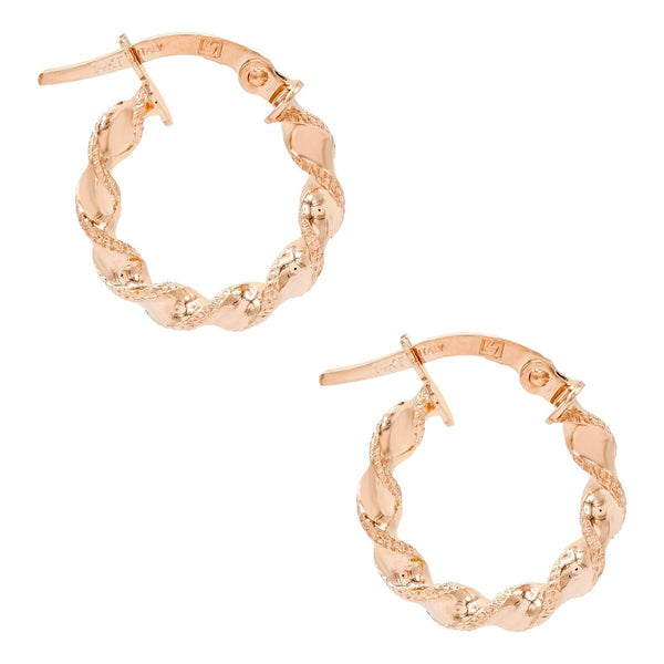 14K Rose Gold Twisted Mini Hoop Earring 14K - Adina's Jewels