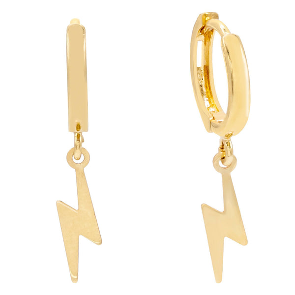 14K Gold Lightning Huggie Earring 14K - Adina's Jewels
