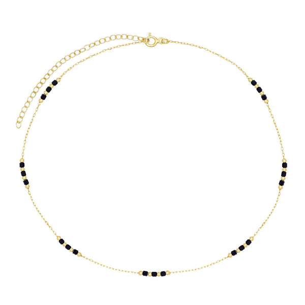 Onyx Beaded Chain Choker - Adina's Jewels