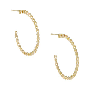 14K Gold / Pair Baby Cuban Hoop Earring 14K - Adina's Jewels