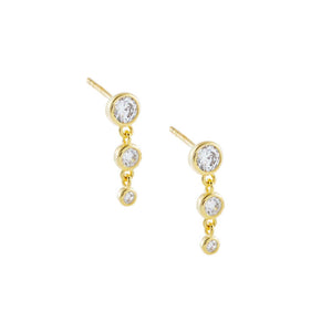 Gold CZ Bezel Drop Stud Earring - Adina's Jewels