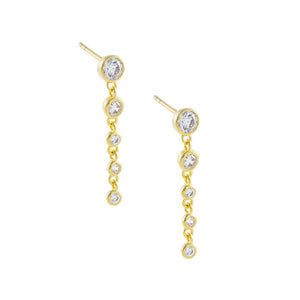Gold CZ Bezel Long Drop Stud Earring - Adina's Jewels