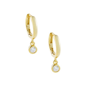 Gold CZ Bezel Huggie Earring - Adina's Jewels