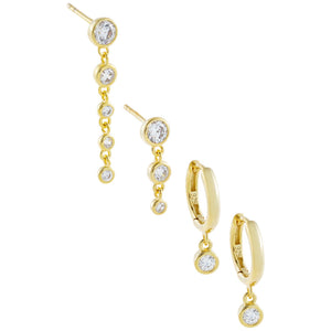CZ Bezel Huggie X Drop Stud Earring Combo Set Gold - Adina's Jewels