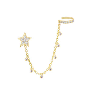 Gold Bezel Star Chain Ear Cuff X Stud Earring - Adina's Jewels