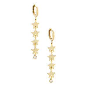 14K Gold / Pair Bezel Star Drop Earring 14K - Adina's Jewels