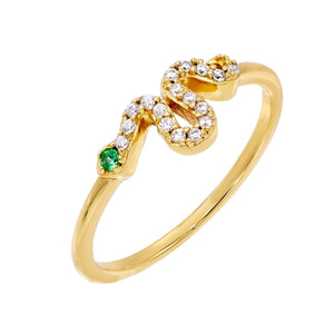 Serpent Ring Emerald Green / 6 - Adina's Jewels