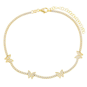 Gold Butterfly Tennis Anklet - Adina's Jewels