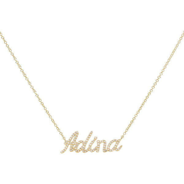 14K Gold / 2-3 Letters Diamond Script Name Necklace 14K - Adina's Jewels