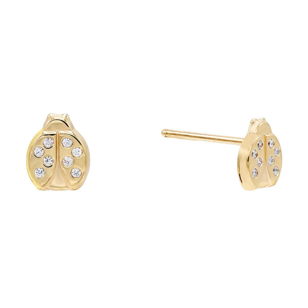 14K Gold / Single Ladybug Stud Earring 14K - Adina's Jewels