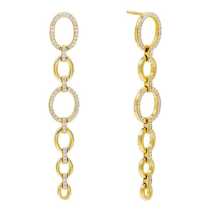 Oval Chain Drop Stud Earring Gold - Adina's Jewels