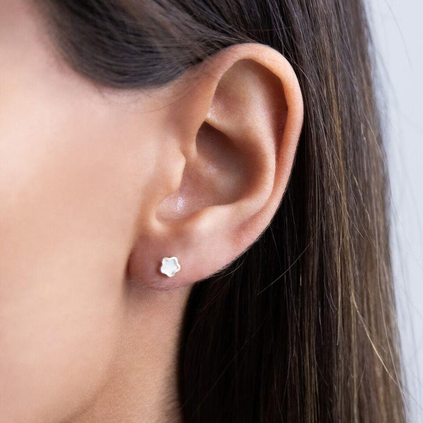 Mother of Pearl Mini Flower Stud Earring 14K - Adina's Jewels