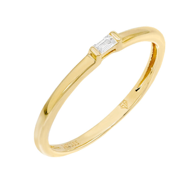 14K Gold / 6.5 Diamond Baguette Stone Ring 14K - Adina's Jewels