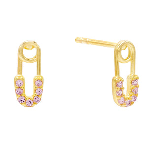 Baby Safety Pin Stud Earring Light Pink - Adina's Jewels
