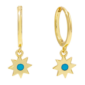 Turquoise Turquoise Starburst Huggie Earring - Adina's Jewels