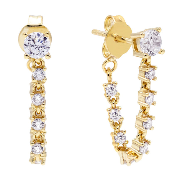 Gold Tennis Loop Stud Earring - Adina's Jewels
