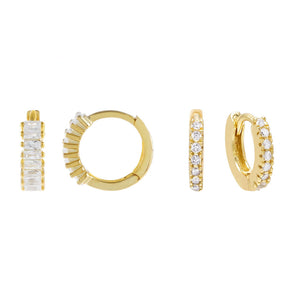 Gold CZ X Baguette Huggie Earring Combo Set - Adina's Jewels