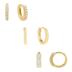 Gold The Ultimate Huggie Earring Combo Set - Adina's Jewels
