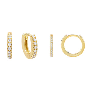 Gold CZ Huggie Earring Combo Set - Adina's Jewels