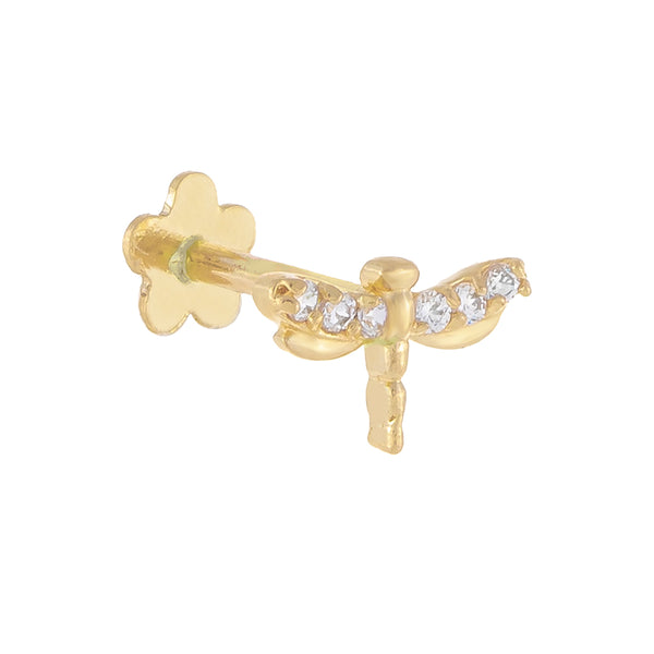 14K Gold / Single CZ Dragonfly Threaded Stud Earring 14K - Adina's Jewels