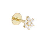 14K Gold / Single CZ Flower Threader Stud Earring 14K - Adina's Jewels