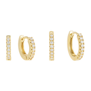 Gold CZ Mini Huggie Earring Combo Set - Adina's Jewels