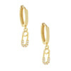 Gold CZ Mini Safety Pin Huggie Earring - Adina's Jewels