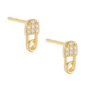 Gold CZ Mini Safety Pin Stud Earring - Adina's Jewels