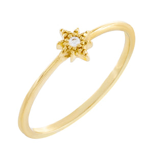 14K Gold / 6 CZ Starburst Ring 14K - Adina's Jewels
