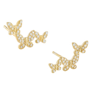 Gold CZ Three Butterfly Stud Earring - Adina's Jewels
