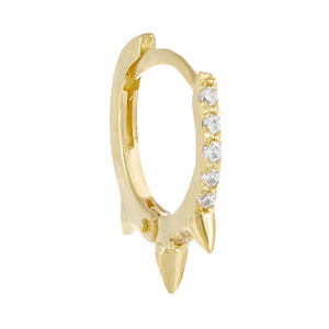 14K Gold / Single Cartilage CZ Spike Hoop Earring 14K - Adina's Jewels