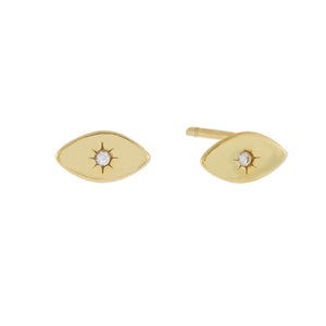 CZ Evil Eye Stud Earring Gold / Pair - Adina's Jewels