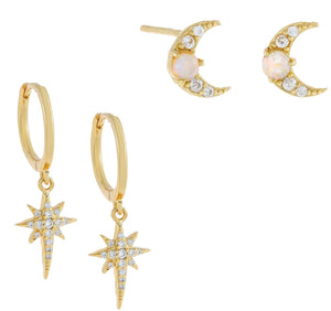 CZ Opal Star & Moon Earring Combo Set Combo - Adina's Jewels