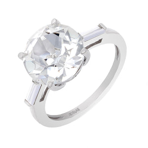 Silver / 7 Crystal Round X Baguette Ring - Adina's Jewels