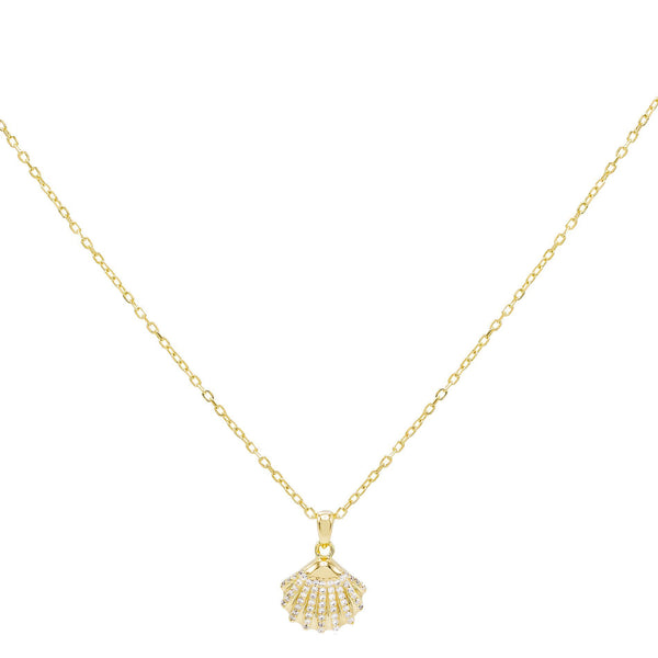 Gold Pavé Shell Pendant Necklace - Adina's Jewels