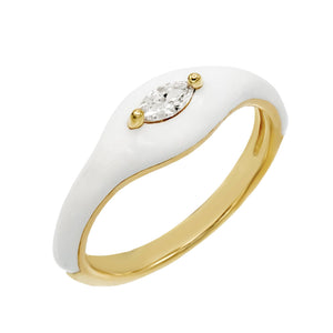 Crystal White / 6 Enamel Stone Ring - Adina's Jewels