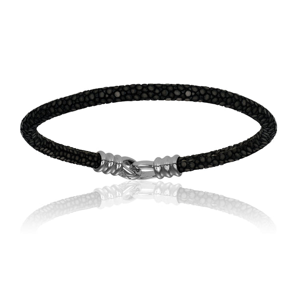 Onyx Croc Leather Bracelet - Adina's Jewels
