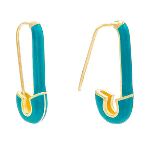 Turquoise Safety Pin Enamel Earring - Adina's Jewels
