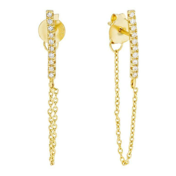 Gold Pave Bar Chain Stud Earring - Adina's Jewels