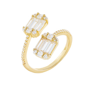 Gold / 6 Dainty Baguette Wrap Ring - Adina's Jewels