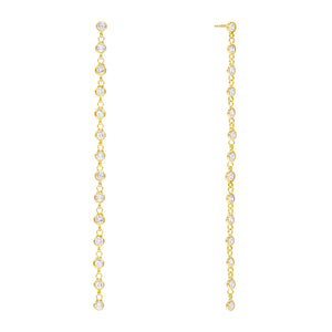 Multi Bezel Drop Stud Earring Gold - Adina's Jewels