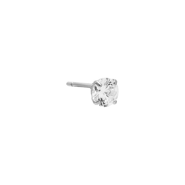 14K White Gold / 4 MM / Single Solitaire Stud Earring 14K - Adina's Jewels