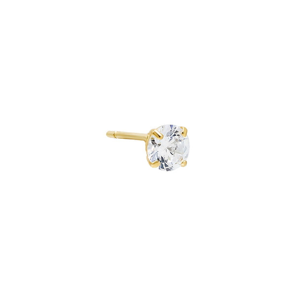 14K Gold / 4 MM / Single Solitaire Stud Earring 14K - Adina's Jewels