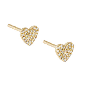 14K Gold / Pair Diamond Heart Stud Earring 14K - Adina's Jewels