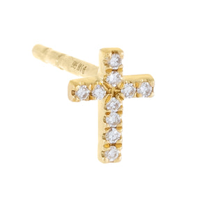 14K Gold Diamond Mini Cross Stud Earring 14K - Adina's Jewels