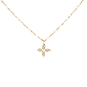 14K Gold Diamond 4 Petal Flower Necklace 14K - Adina's Jewels